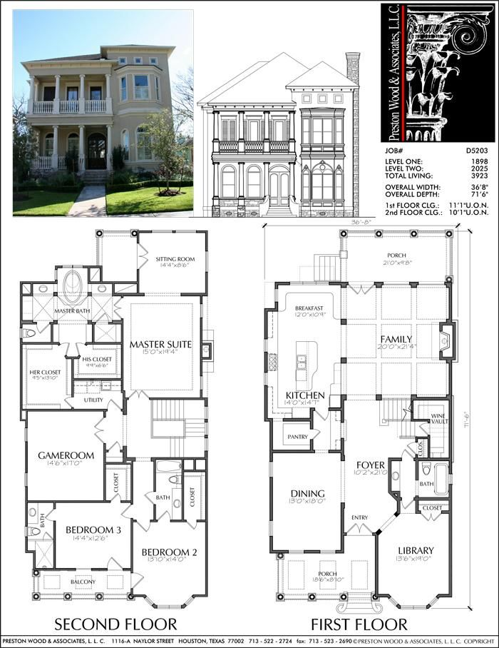 Two Story Urban House Plan D5203 3923