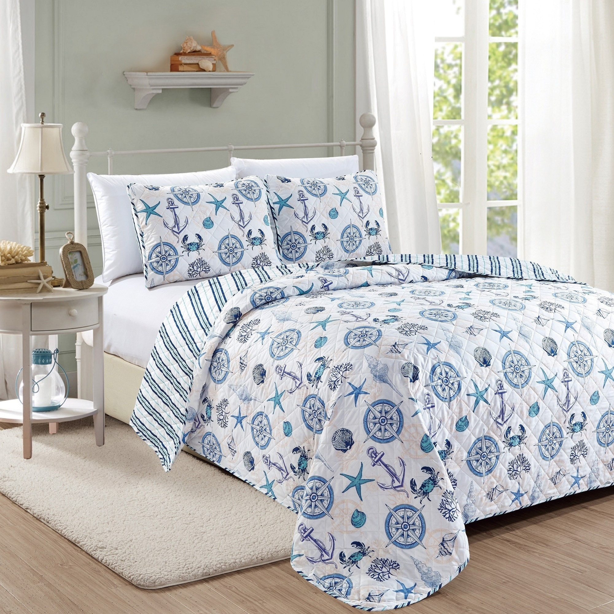 Azure Coastal Collection 3 Piece Quilt Set Full Queen White