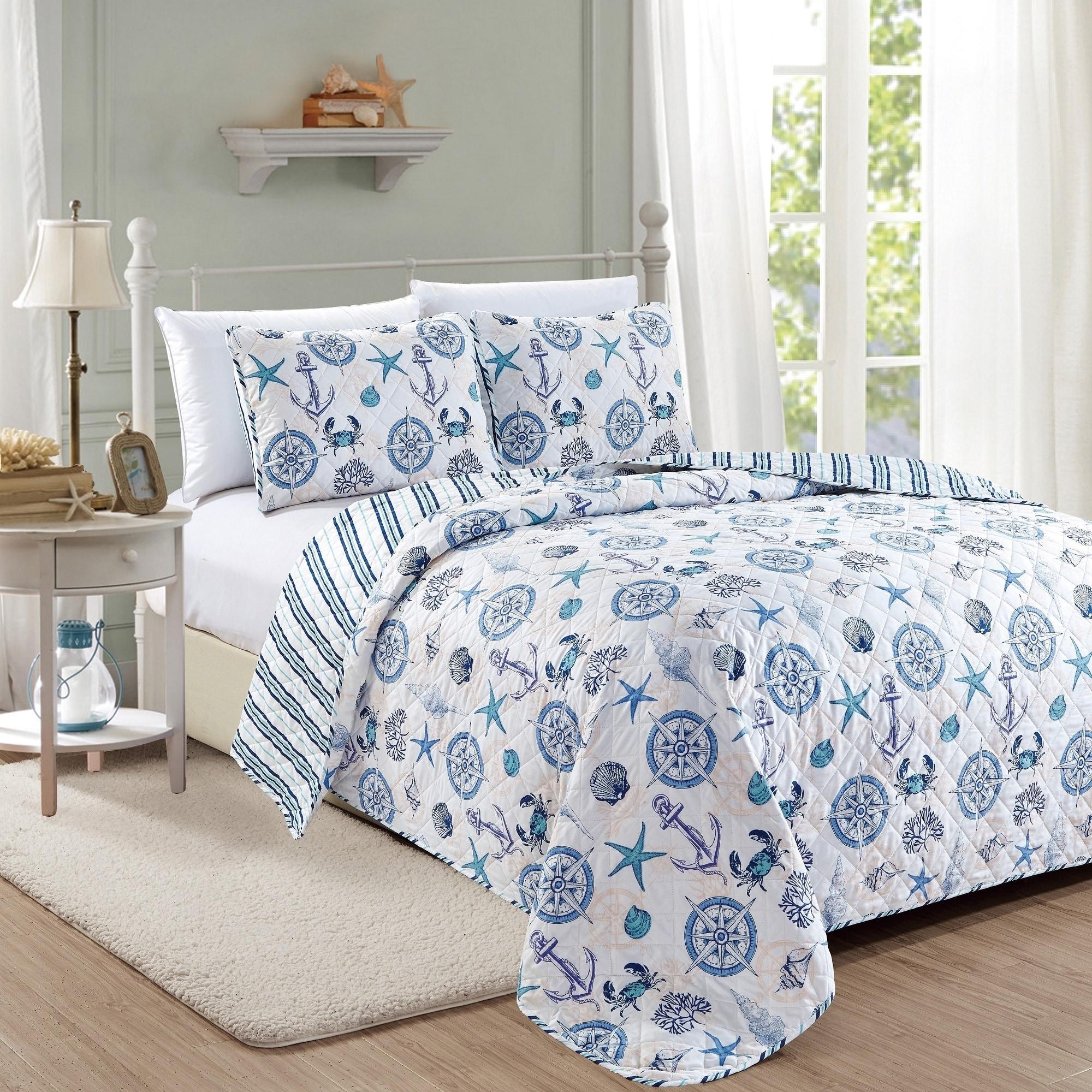 Azure Coastal Collection 3 Piece Quilt Set Full Queen White
