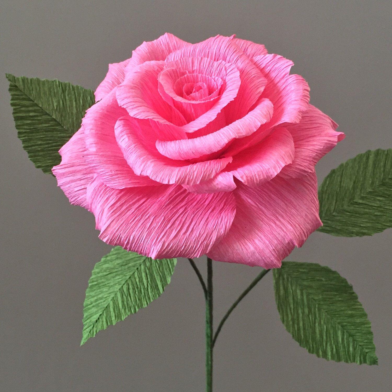 Crepe paper tea rose single stem wedding flowers home or office crepe paper tea rose single stem wedding flowers home decor florist mightylinksfo