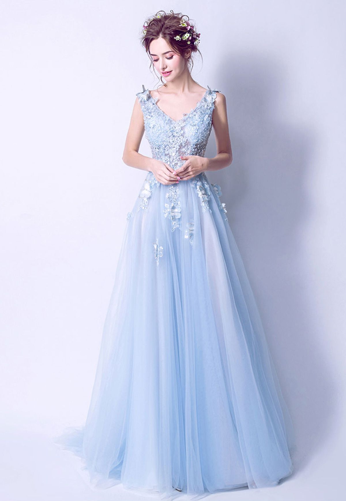 Cute ice blue tulle prom gown ball dress fashion pinterest