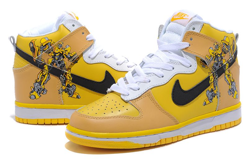 Transformers Bumblebee Nikes Dunks High Custom Shoes Yellow
