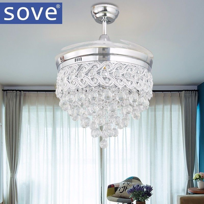 Modern led chrome crystal ceiling fan with lights bedroom living modern led chrome crystal ceiling fan with lights bedroom living room folding ceiling fan remote control aloadofball Image collections