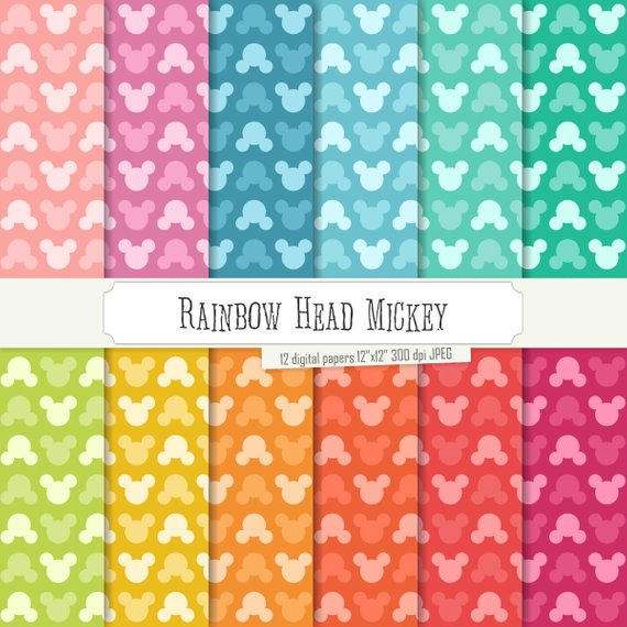 Buy 2 Get 1 Free! Digital Paper Rainbow Head Mickey