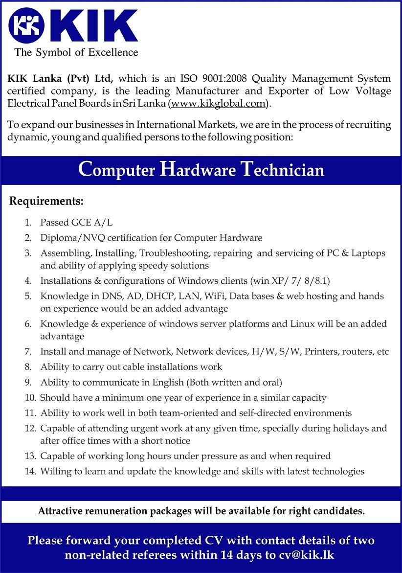 computer hardware technician at kik lanka career first - Hardware Technician Jobs