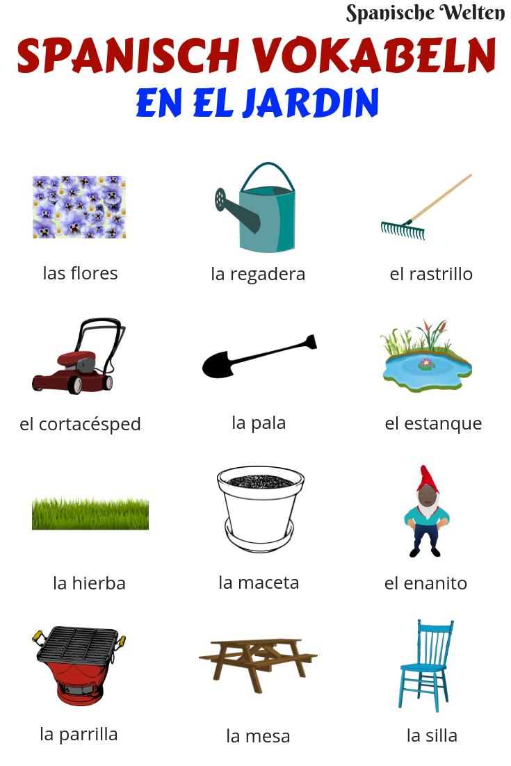 Spanisch Vokabeln: Garten | Spanisch vokabeln, Spanisch