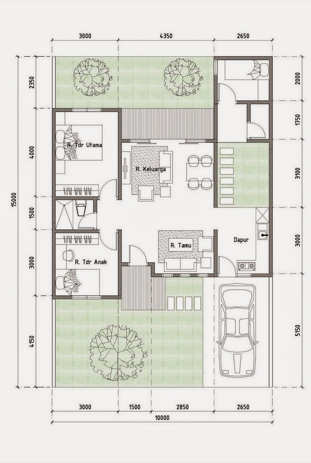 Denah Rumah Minimalis Type 70 1 Lantai Project Pinterest House