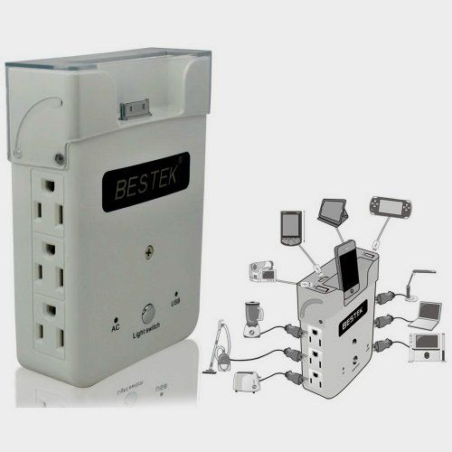 Bestk Wall Charging Station Power Strip Usb Surge Protector W 6 Ac Outles 4 Usb Ports 2 1a 1a Ni Iphone Charging Station Charging Station Iphone Charging Dock