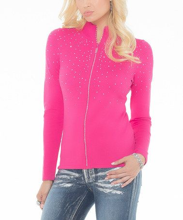 Another great find on #zulily! Haute Pink Rhinestone Zip-Up Cardigan #zulilyfinds