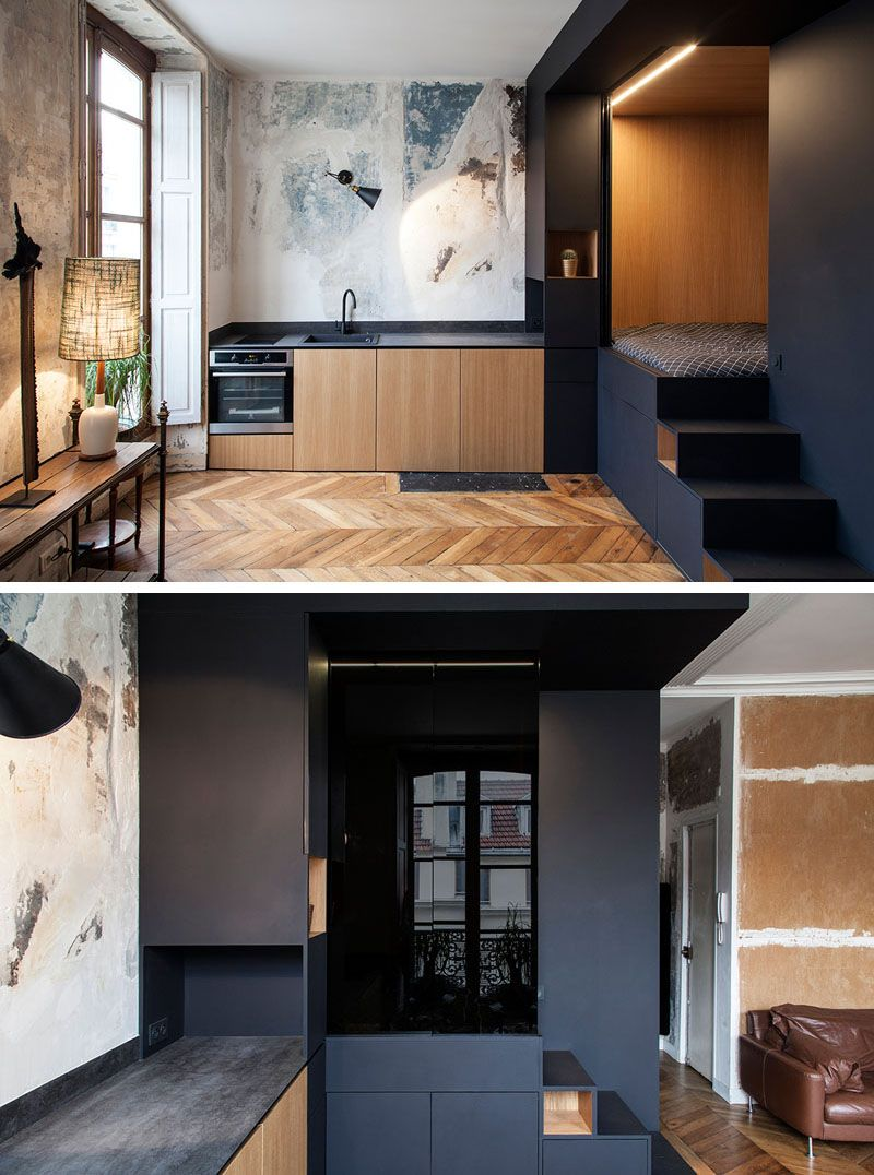 Lovely Interior Design Firm Batiik Studio, Have Transformed A Run Down Parisian  Apartment Into To A Functional Space With A Custom Built Lofted Bed Unit.
