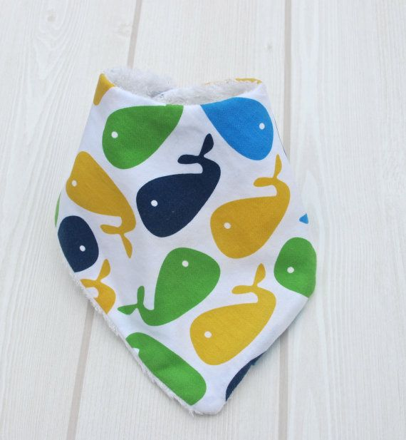 Baby Bandana Bib BLUE WHALES & Super Absorbent Bamboo by CwtchBugs, £6.00