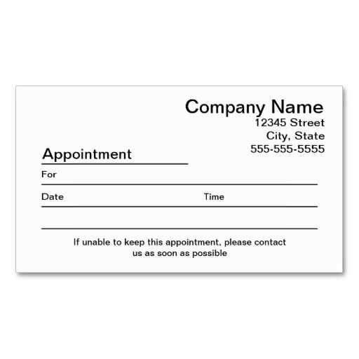 appointment reminder business card