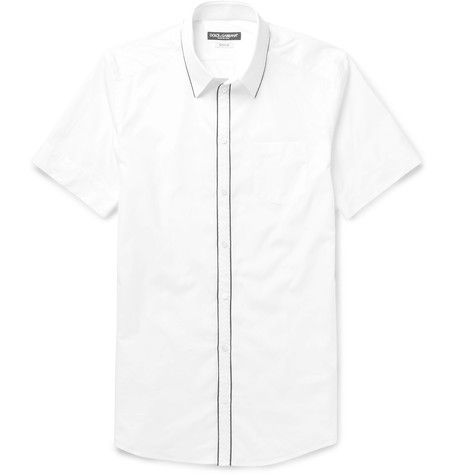 Store Cheap Online White Slim-fit Cotton-poplin Shirt Dolce & Gabbana Cheap Authentic Outlet Free Shipping Clearance Store gyc9fjr