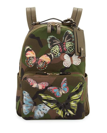 Valentino Camo-Print Butterfly Backpack
