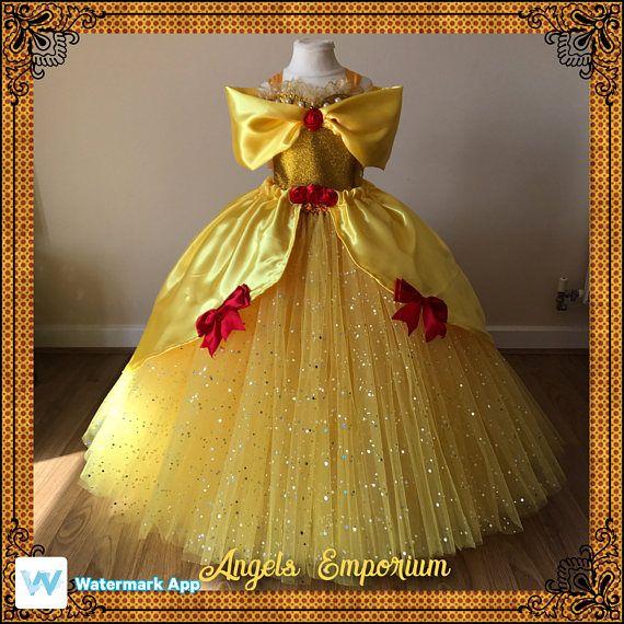 UK STOCK Princess Belle Beast Deluxe Gold Gown Dress Gown Baby Fancy Dress