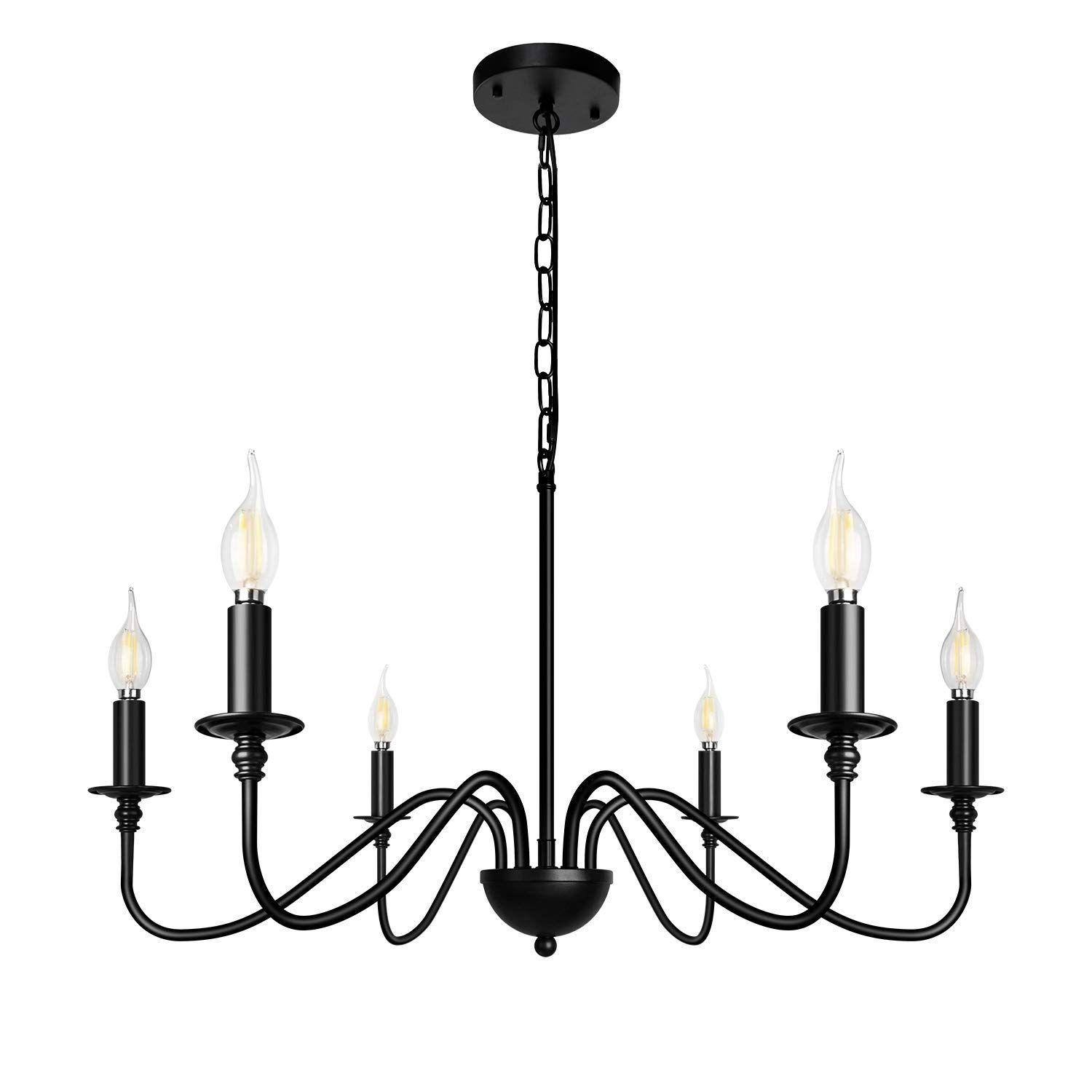 Z Light 6 Light Chandeliers Black Farmhouse Classic Candle Ceiling Hanging Light Fixture Rustic Pe In 2020 Hanging Ceiling Lights Candle Ceiling Hanging Light Fixtures