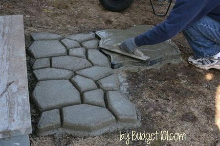 How to build a faux stone walkway | Stone walkway, Walkway ...