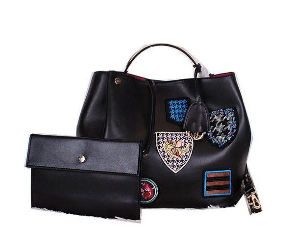 Christian Dior Badge Leather Tote Bag D0312 Black -  259.00  b68919cd94384