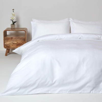 White Egyptian Cotton Stripe Duvet Cover And Pillowcases 330 Tc Striped Duvet Covers Hotel Bedding Sets Striped Duvet