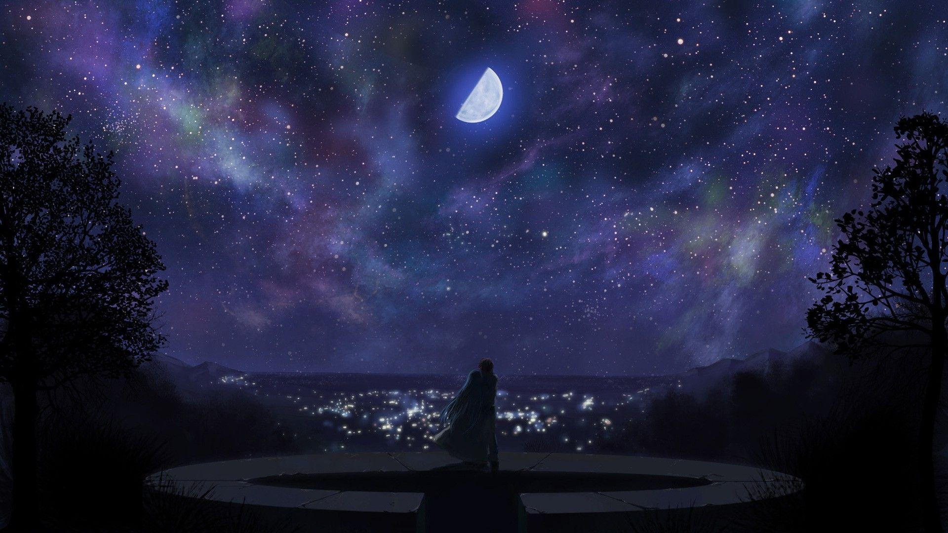 Fantasy Anime Wallpaper Anime Background Night Sky Wallpaper Ribbon In The Sky