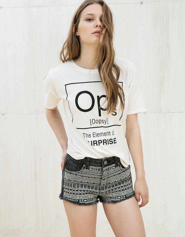 24d907eaa5 Camiseta estampado Opps Note - Camisetas - Bershka Mexico