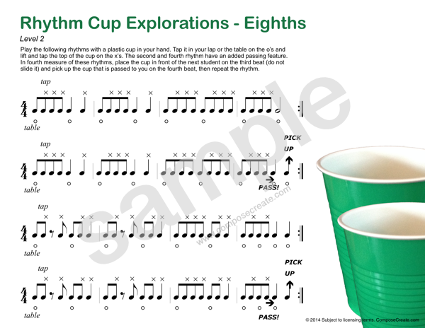 Rhythm Cup Explorations 1 Cup tapping to teach rhythm Eighth – Rhythm Counting Worksheets