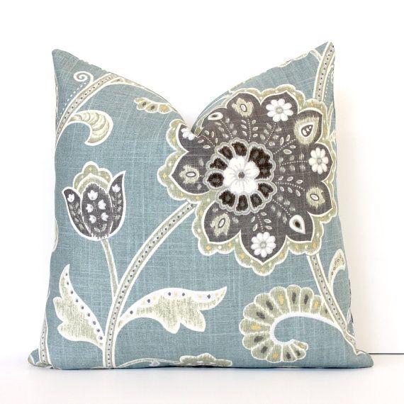 Blue And Black Pillows Part - 17: Pale Spa Blue Jacobean Decorative Designer Pillow Cover Accent Cushion  Robins Egg Teal Aqua Charcoal Gray