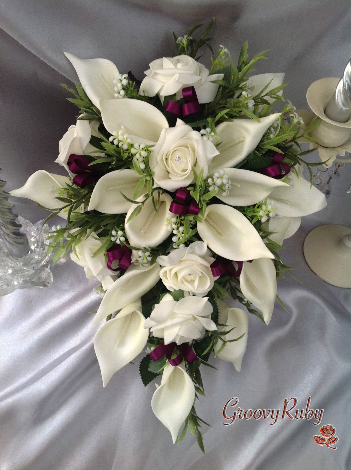 Details about Wedding Flowers, Ivory Rose & Calla Lily