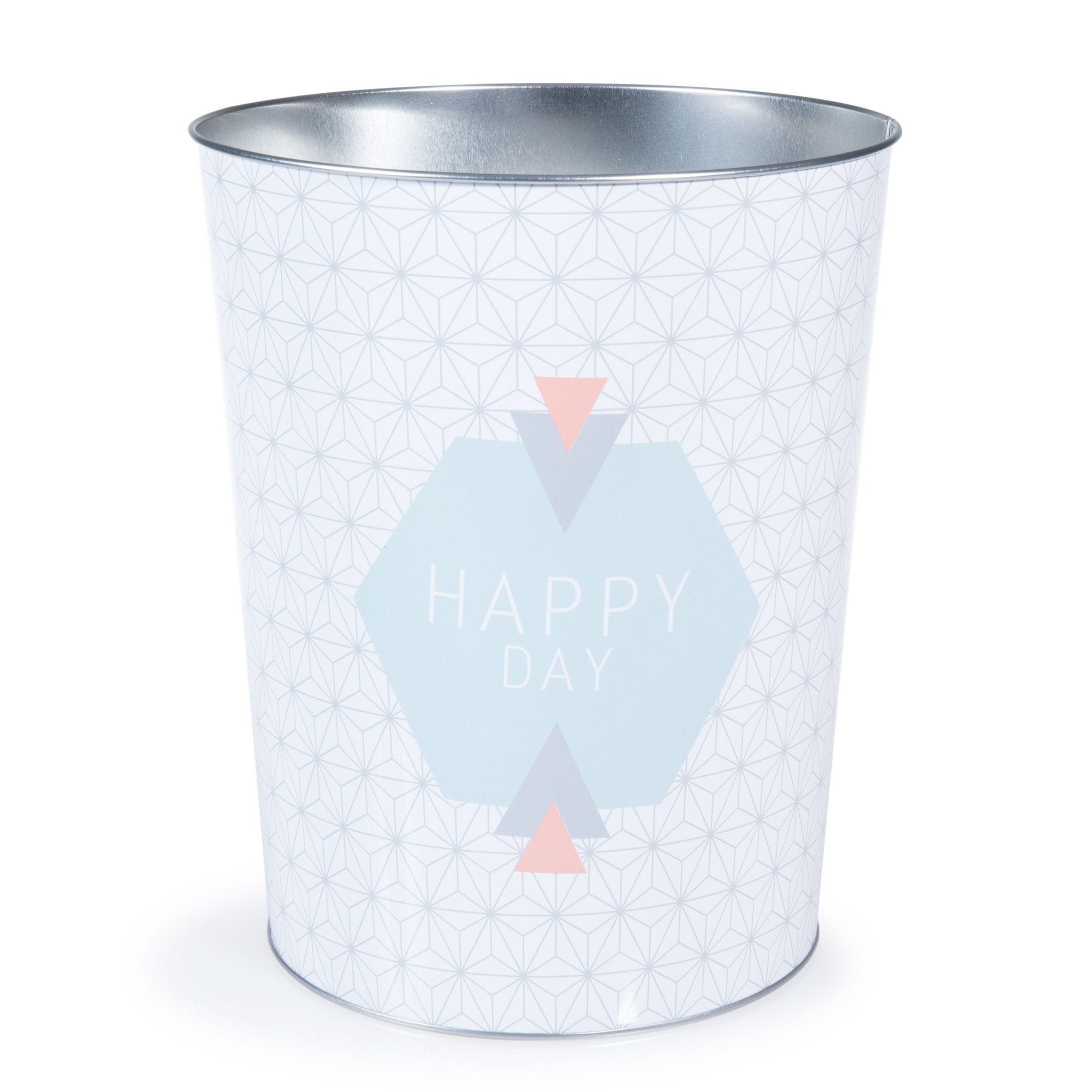 Maisons du Monde   Corbeille à papier en métal H 26 cm HAPPY DAY