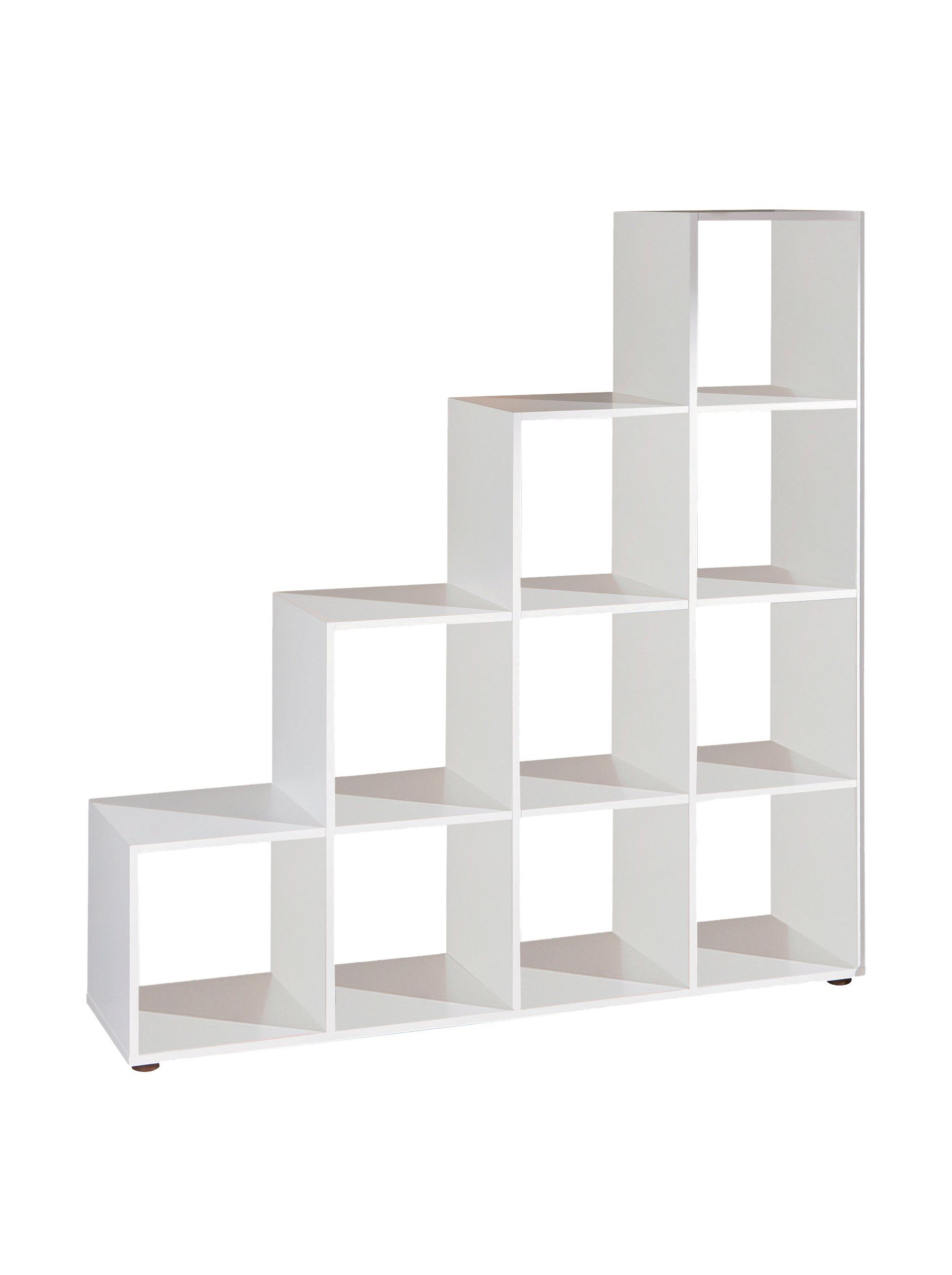 Caboto decorative shelving room divider open stepped shelving unit with 10 compartments white