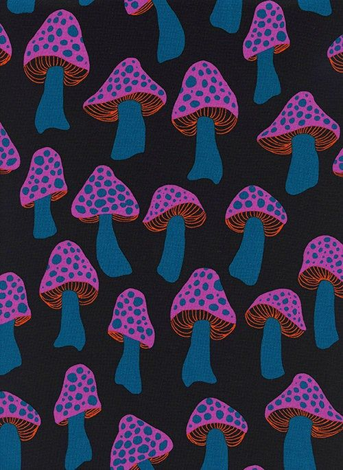 Extremely Rare Cotton + Steel Fabric, Mushrooms, S