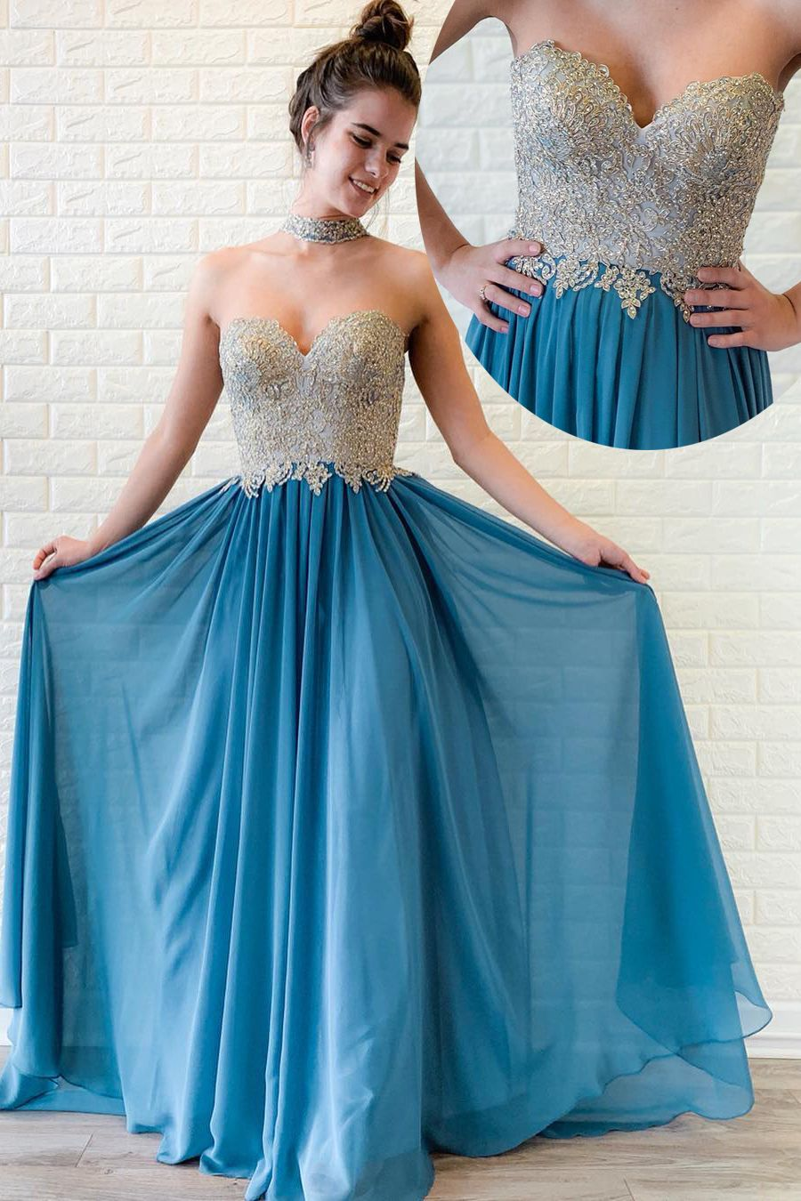 1dff9ec966b Sweetheart Beaded Long Ocean Blue Prom Dress with Pleats