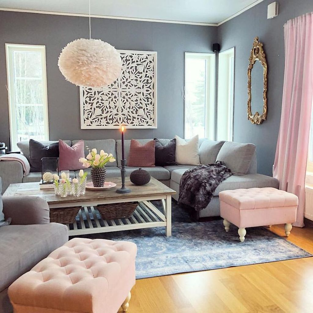 37 Cute Pink Living Room Design Ideas With Images Pink Living