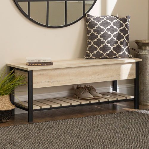 This bench is both beautiful and functional, providing ample storage and a touch of modern farmhouse style for your home's entryway or hallway. The natural-looking wood finish made of high-grade MDF and powder coated metal give it a unique rustic design that's sure to complement a variety of home décor. The open top storage space as well as the bottom slatted shelf are the perfect place for your shoes and accessories that you?ll need when you're headed out the door. 18-Inch H x 48-Inch L x 16-In