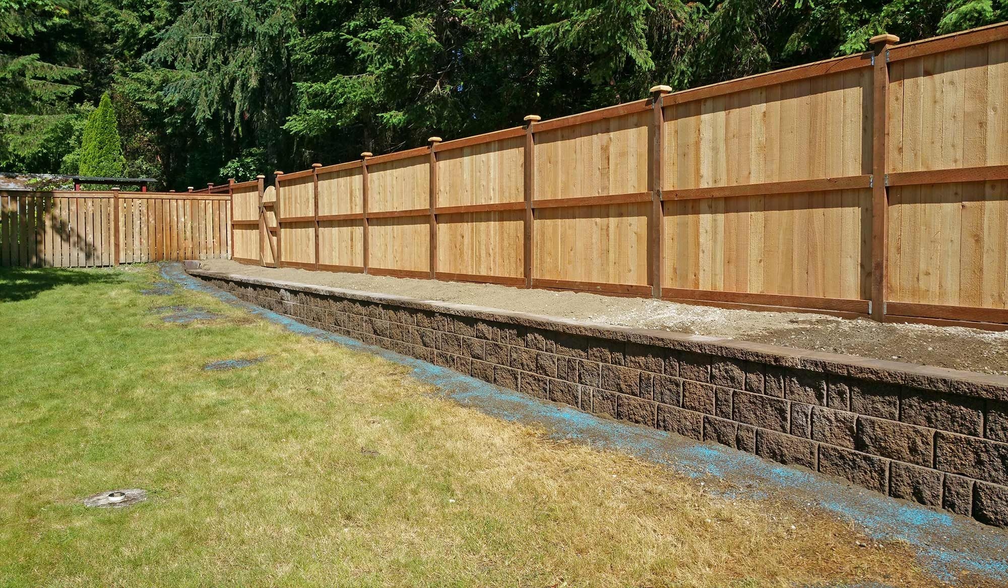 Lacey Retaining Wall And Privacy Fence Retaining Wall Concrete Retaining Walls Retaining Wall Fence