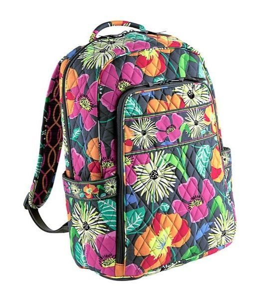 12faecf5893a Vera Bradley LAPTOP BACKPACK Large Back Pack Bag ~ JAZZY BLOOMS ~ New NWT   VeraBradley  BackpackStyle