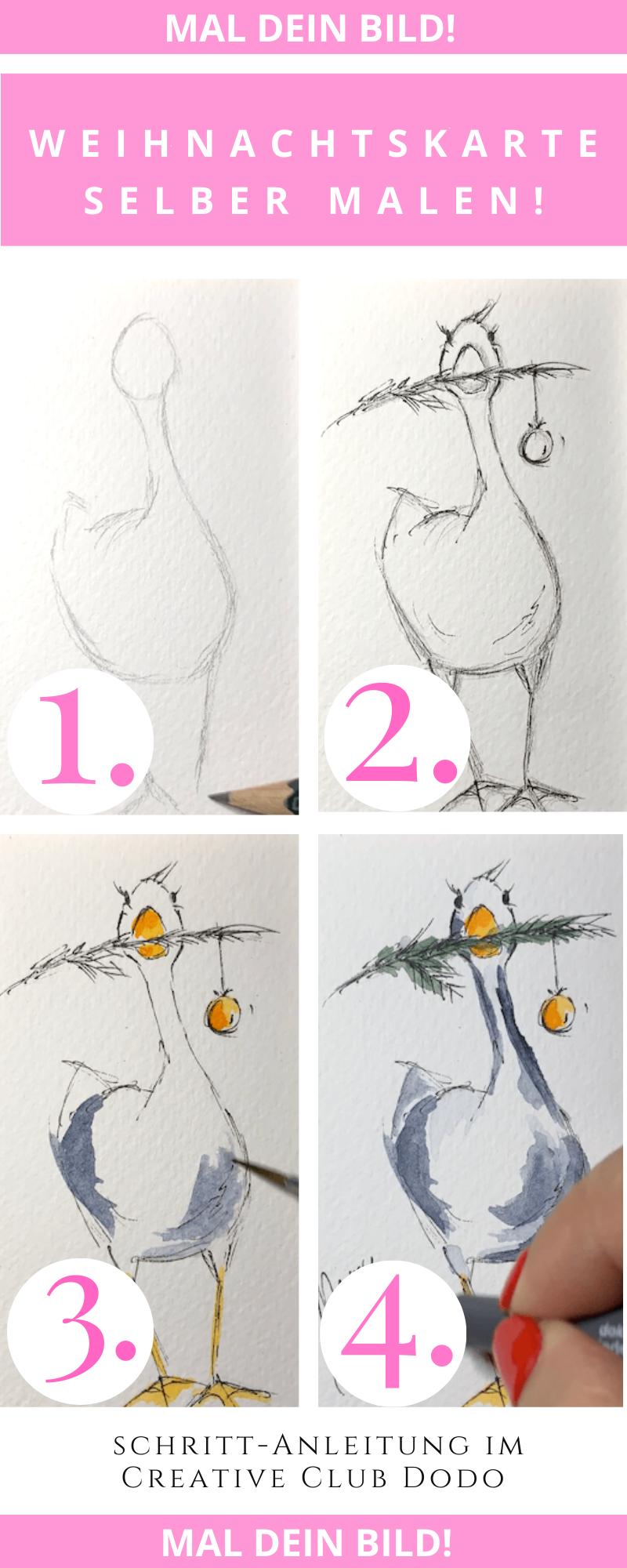 Weihnachtskarte mit Aquarellfarben selbst gestalten!