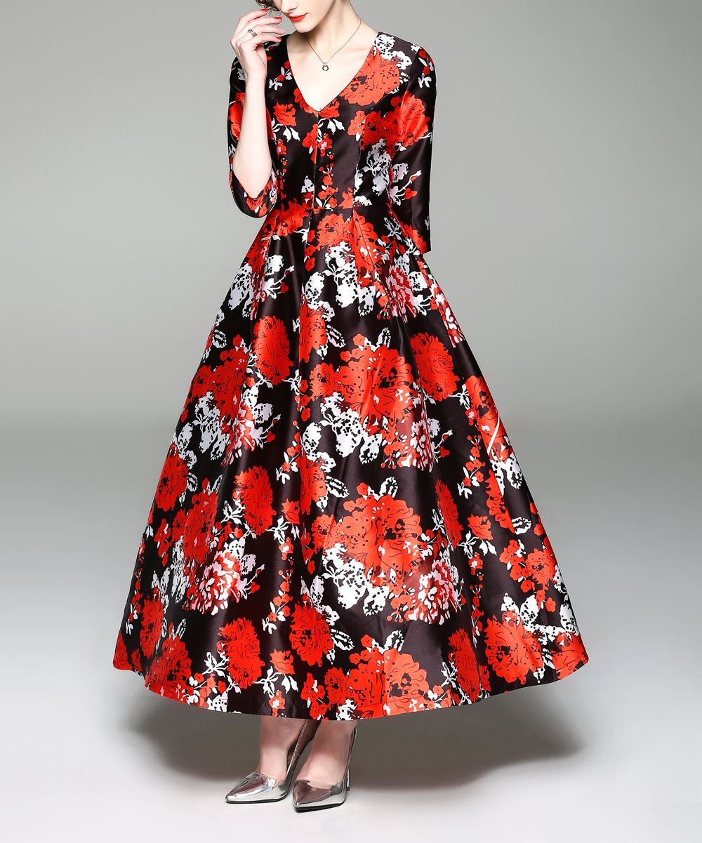 87abee5d7c6 Vicky and Lucas Red Floral Fit & Flare Dress - Women | zulily | 4 My ...