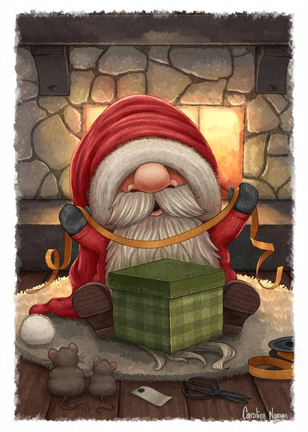 Little Santa wrapping a gift by Ploopie on DeviantArt