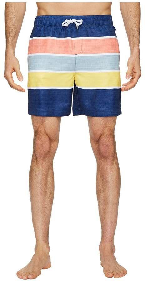 35a2a88562 Original Penguin Color Block Stripe Elastic Volley Stretch Swim Shorts  Men's Swimwear