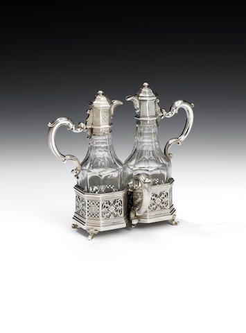 A George II Régence-style silver oil and vinegar cruet, by Paul de Lamerie…