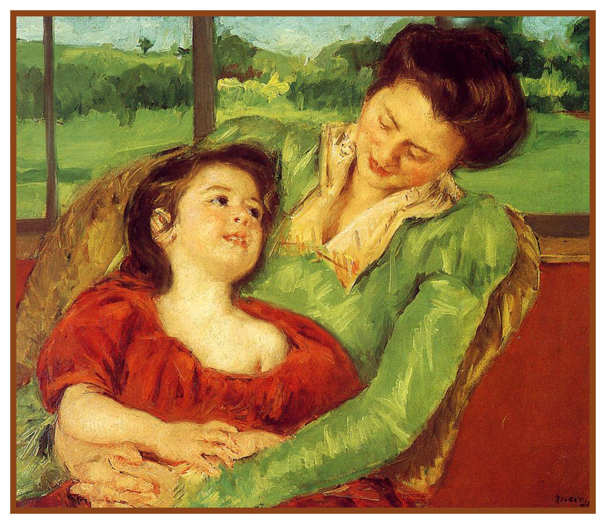 Rene And Margot At The Window By American Impressionist Artist Mary Cassatt Counted Cross Stitch Or