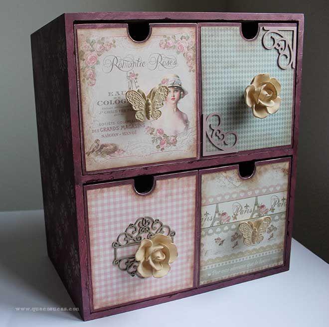 Cajonera de madera decorada manualidades pinterest - Cajas de madera manualidades ...
