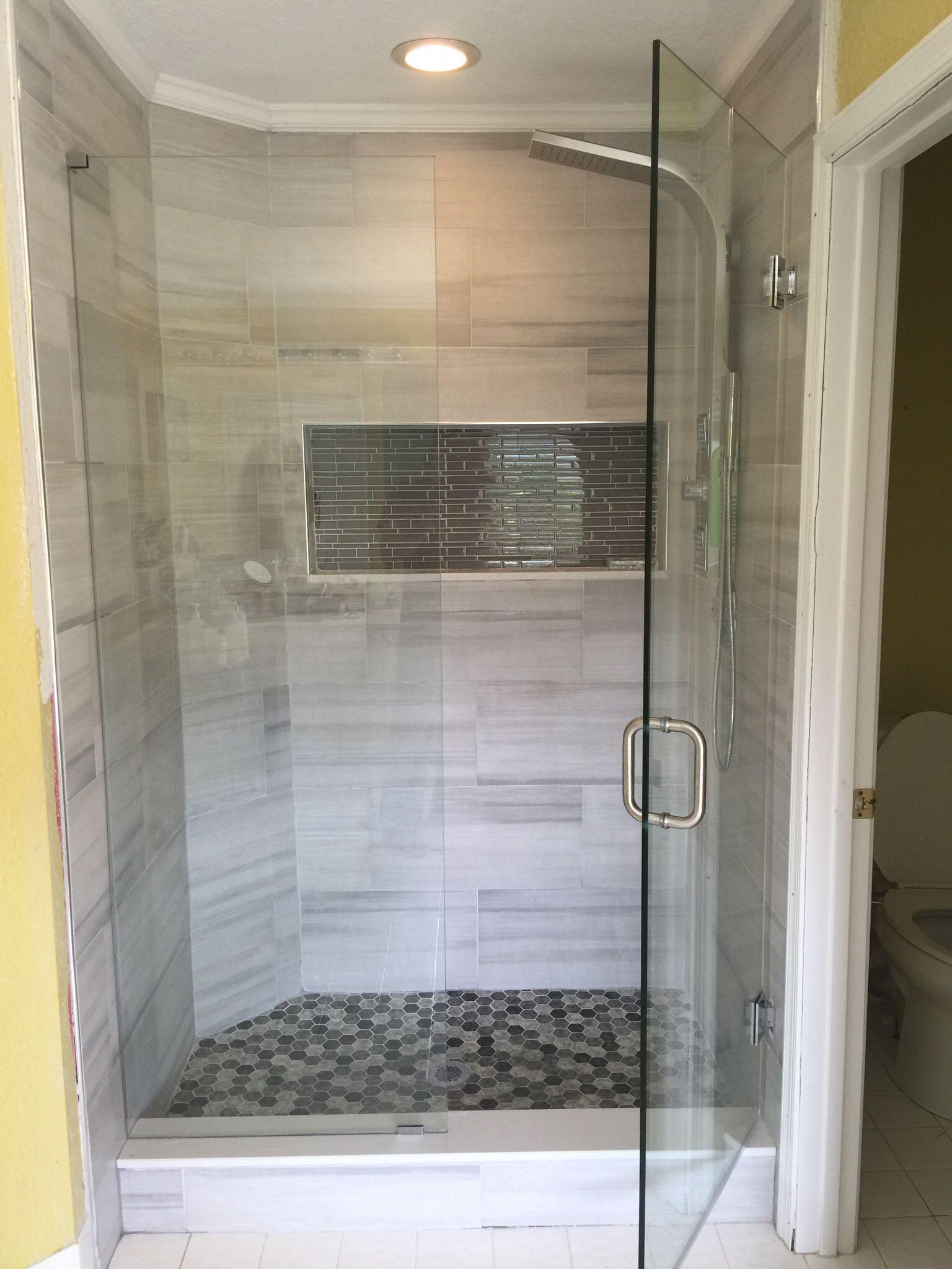 Frameless Shower Door Large Subway Tile Grey Tile Glass Mosaic Nook
