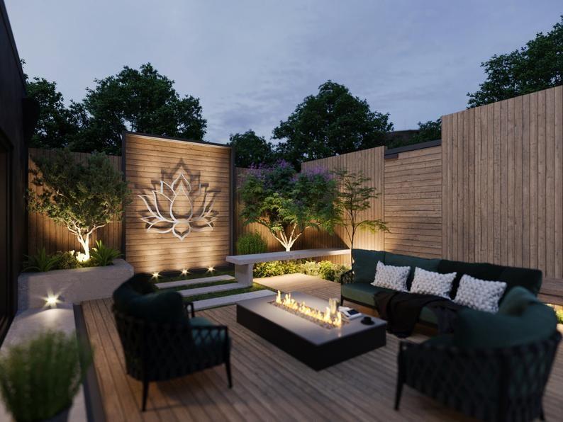 Lotus Flower Large Outdoor Metal Wall Art, Garden