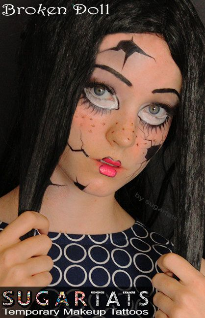 Mueca rota maquillaje temporal tatuajes Halloween por TattooMint