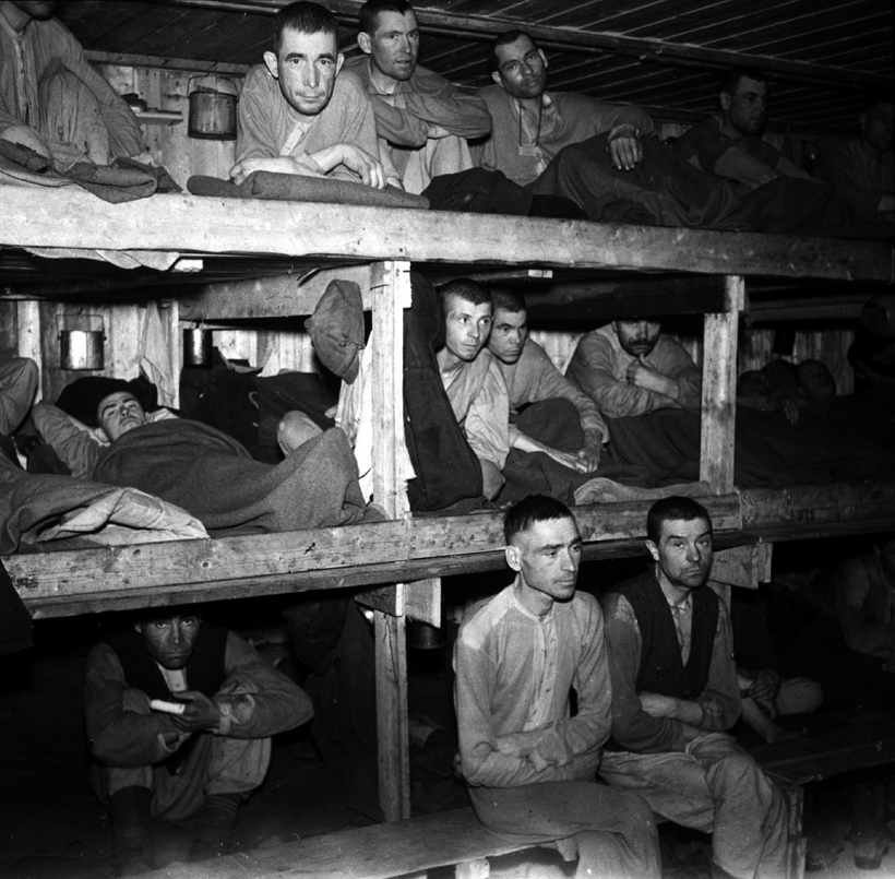 Russian PoWs at Saltfjellet labour camp in Norland, Norway, north of Mo i Rana in 1945 after the liberation of Norway. (So after the German occupation of Norway was over, the allies had German PoW camps in Norway...) They don't look abused or starved though, like many PoWs; they were lucky to go to Norway...