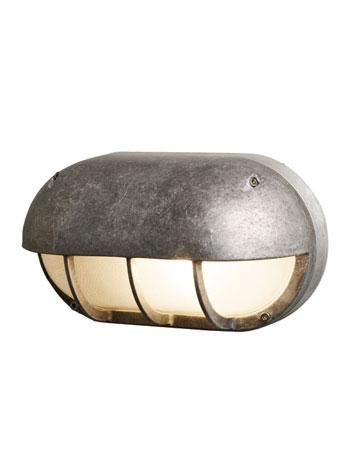 Aluminium Bulkhead Light With Horizontal Eyelid Shield Oval Cast Ing Natural Zinc Grey Finish Frosted Gl Diffuser