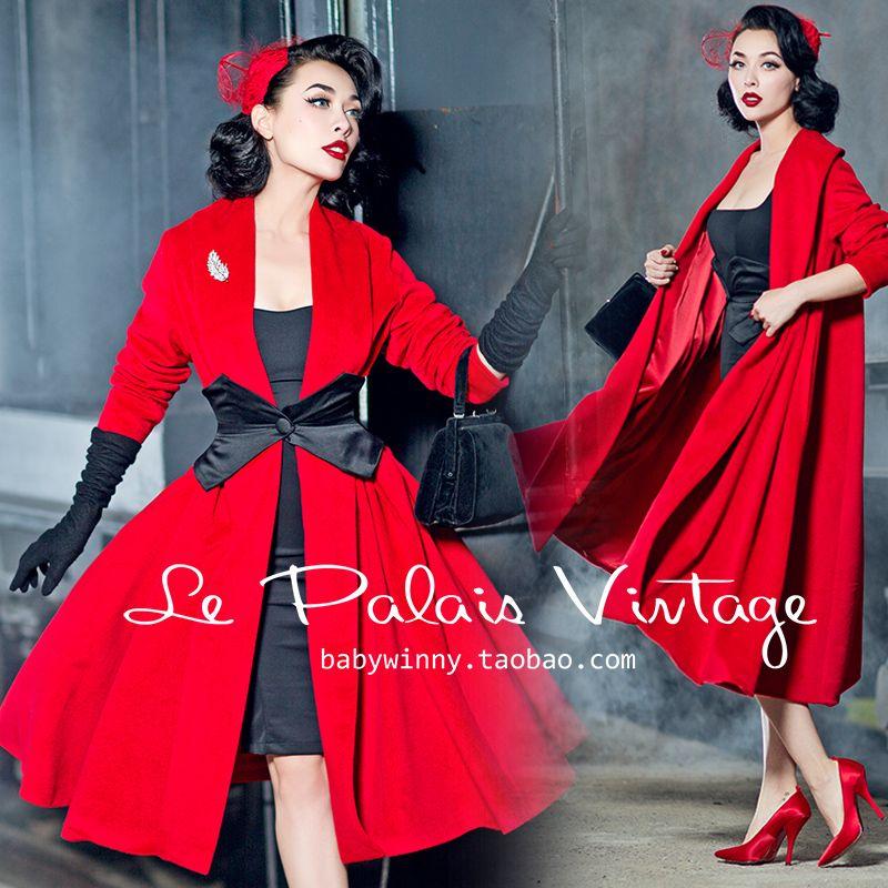 e0a6b4fb209a8 Otoño invierno mujeres vintage pin up rojo de lana de cachemira largo  rockabilly manga poncho abrigos