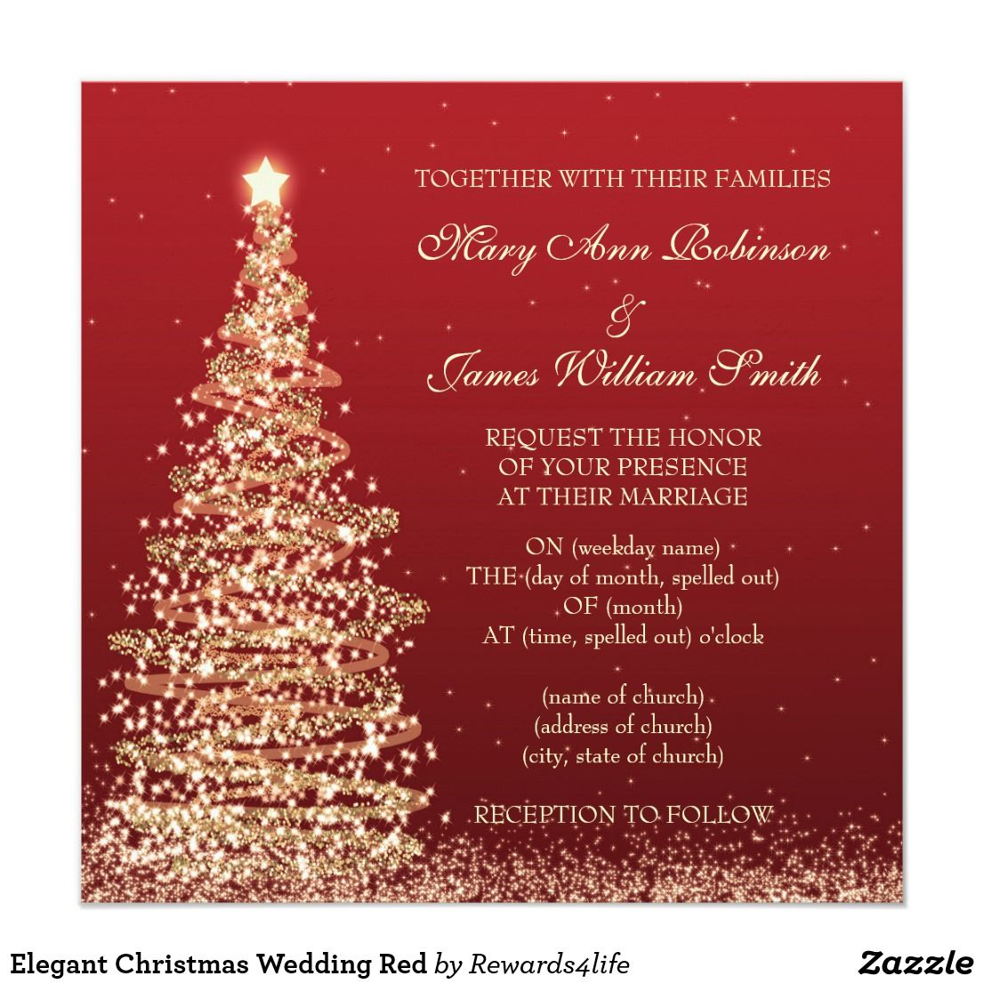 Elegant Christmas Wedding Red Card Matching Products Available ...